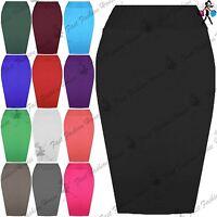 Womens Plain Bodycon Pencil Tube High Waisted Ladies Stretch Midi Skirt UK 8-26