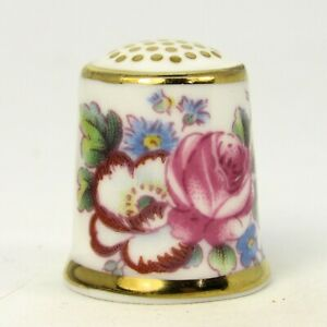 ENGLISH BONE CHINA THIMBLE FLORAL DECORATION BY ROYAL CROWN DERBY