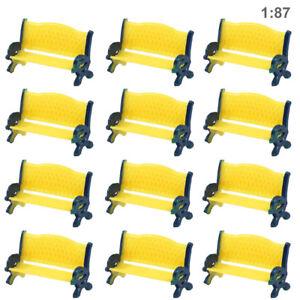 Model Railway Platform Park  1:87 H0 Scale Street Seat Bench Yellow Settee Chair