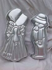 2 LOTE Wilton ROBBY & Acebo Hobbie Pastel Pan Amish PAREJA Niño Niña Horneado