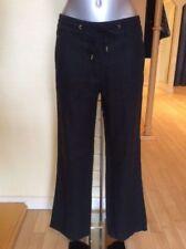 Wide Leg Linen Black Trousers for Women