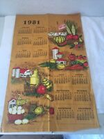 VINTAGE 1981 LINEN HANGING TOWEL CALENDAR COUNTRY FAIR, FARM SCENES, VEGETABLES