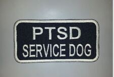 Blue Embroidered Sew-On Patch - 4 x 2 - PTSD SERVICE DOG