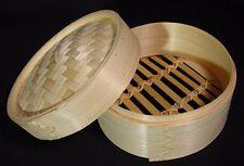 """New Dim Sum Bamboo Steamer 2 Piece Set 6"""" Diameter"""