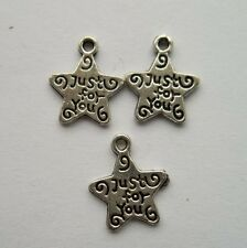 50 pcs Tibetan silver stars charm pendant 14x12 mm