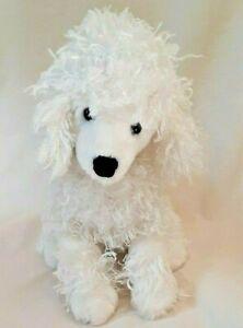 "Gund White Poodle Puppy Dog Plush Stuffed Animal 9"" Silver Dot Collar #13065"