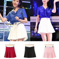 Women Lady School Thin Plain High Waist Skater Flared Pleated Mini Skirts Dress