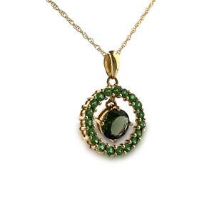 Green Tsavorite Garnet necklace Pendant and chain 14k Yellow Gold