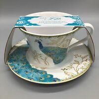 222 Fifth Peacock Garden Tea Cup Saucer Set Coffee Fine China Blue Gold NEW