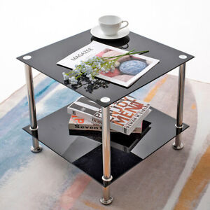 2 Tiers Black / Clear Shelf Glass Side End Coffee Lamp Table Living Room Stylish