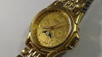 Viintage Mens Speidel gold toned Moonphase watch new battery runs perfect 36mm