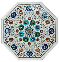Side Table Top Semi Precious Stone Inlay Work Marble Coffee Table Floral Art