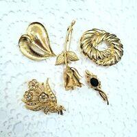 Vintage Gold Tone Brooch Pin Lot Flower Rose Rhinestone Swirl Heart