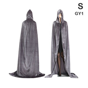 Medieval Vampire Velvet Hooded Cloak Long Robe Witch Capes Halloween Cost -B