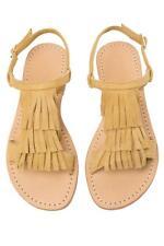 6256a2fd3cfe3b Mystique Flat Sandals ME FRINGE Sandal Leather Suede Shoes Beige Lt Tan Size  9