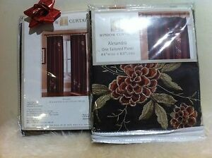 "2 x Alesandra Floral Embroidered Faux Silk Window Curtain Panel, Brown,44"" x 63"""
