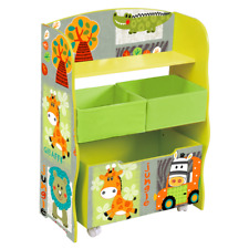 KIDS JUNGLE ANIMAL THEME BEDROOM FURNITURE Unit with Childrens Toy Storage Boxes