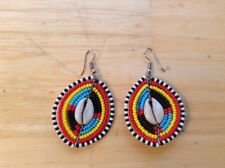 African-Arena Maasai Masai Handmade Beaded Cowrie Shell Colorful Earrings Aa16