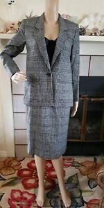 NEW Vtg PENDLETON Size 2 Houndstooth Plaid 100% Wool 2 Piece Skirt Jacket Suit