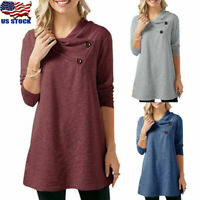 US Women Long Sleeve Button Tunic Tops Ladies Casual Loose Jumper T Shirt Blouse