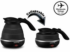 Gourmia GK320B Travel Foldable Electric Kettle - Dual Voltage collapsible Black
