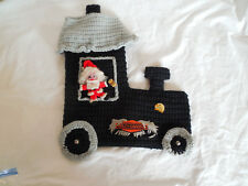 Hand knitted locomotive, train Christmas stocking, Harley Davidson patch
