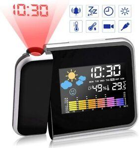 Neu LCD Funkwecker Funkuhr LED Funkwecker Snooze Alarm Tischuhr mit Projektion