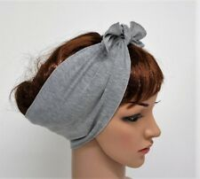 Grey headband, tie up hair scarf, pin up hair tie, yoga head scarf, hair bandana