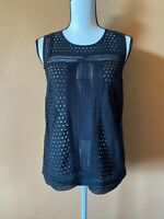 Club Monaco Black 100% Cotton Eyelet Sleeveless Shirt Top Size Small