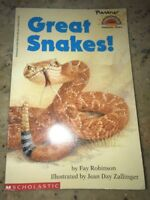 Hello Reader: Great Snakes! Level 2 by Fay Robinson (1996, Paperback) Kids Book