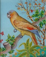"Charlotte Julian - ""Coco le perroquet"" - Art Naïf - Oeuvre originale - Tableau -"