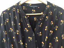 FRENCH CONNECTION Navy & Orange Print Jersry Tie Waist Dress Size 14 VGC