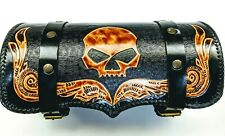 Motorcycle Tool Bag barrel pouch with handmade leather Strap Harness