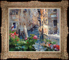 """Hand-painted Original Oil painting art knife Landscapes Venice On Canvas 20""""x24"""""""
