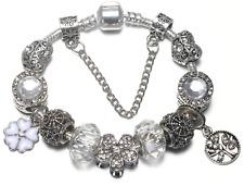 Corazones de plata y diamantes, Flores pulsera charms mujeres Oficina Regalo de San Valentín