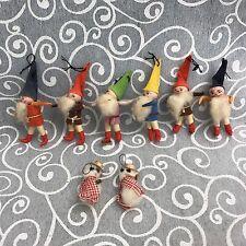 Set of Vintage Miniature Christmas Gnome Ornaments Snowmen Elves