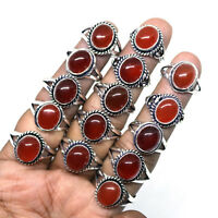 Beautiful Lot !! 100 PCs Natural AAA Red Onyx Gemstone Silver Plated Rings
