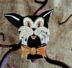 """Vintage Repro Silly Cat,4 Colors Bowtie Halloween Mini Decoration,1 1/2"""" TO 3"""""""