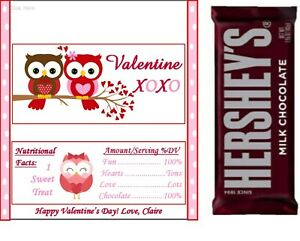 20 Personalized Love Owls Valentine's Day Candy Bar Wrappers