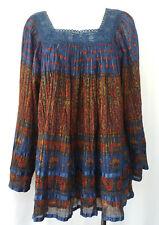 Indian Gold Metallic Cotton Gauze Block Print Crochet Hippy VTG Mini Dress OS