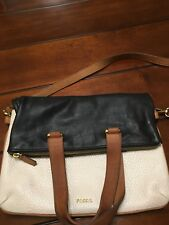 Fossil Tote Black / Ivory  Memoir Anthology Foldover Crossbody Shoulder Bag