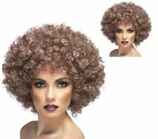 Hair Afro Wig Natural Costume Clown Curly Halloween 70s Fancy Dress Adult Brown