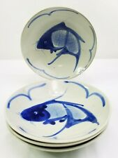 Early Chinese Porcelain Pottery Blue white Koi Carp Fish Dinner Bowls Set of 4