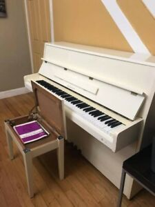 """Samick Piano Upright pearl white 57"""" used but in excellent condition"""