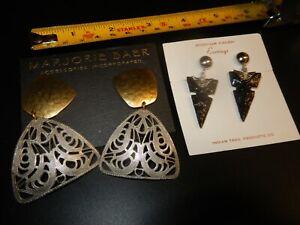 Vintage Marjorie Baer Gold Tone Hammered Metal Dangle Drop Pierced Earrings SF