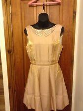 BNWT DESIGNER KELLY EWING Gold Shimmer Skater Style Dress UK 10 PARTY WEDDING