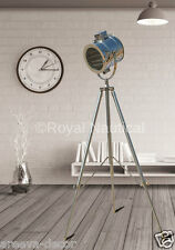 DESIGNER VINTAGE NAUTICAL TRIPOD FLOOR LAMP SEARCH LIGHT SPOTLIGHT LED TRIPOD