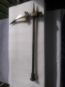 ANTIQUE ARABIC PERSIAN INDIAN BATTLE AXE 18-19C IRON Bronze Animals Silver Inlay