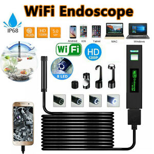 8 LED WIFI Endoscope Camera Wireless Borescope Inspection for iPhone Android UK