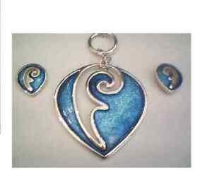 Ortak Silver Nigella Blue  Enamel pendant and matching earrings EN83/EE297 £175